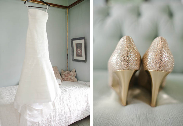 fall-wedding-dress-gold-shoes