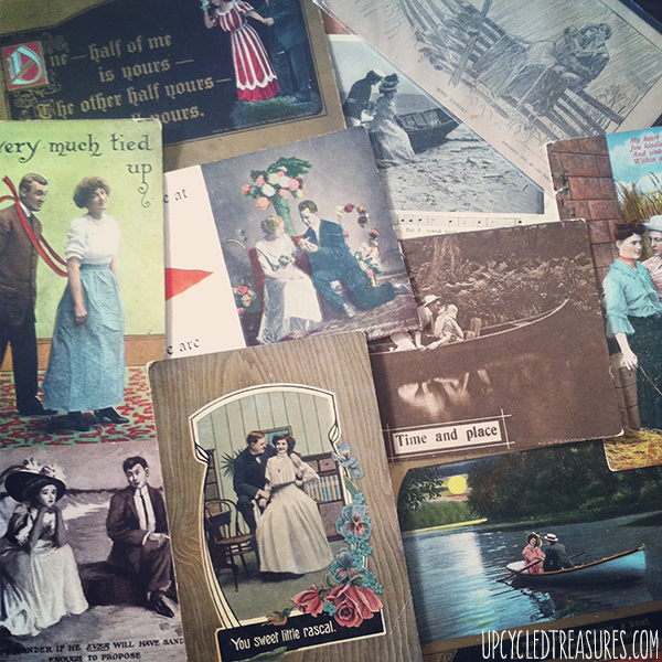 vintage-romantic-postcards-for-time-capsule-wedding-guestbook-upcycledtreasures