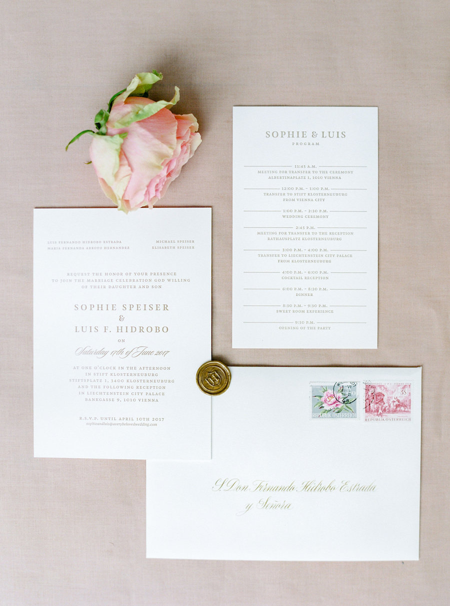Romantic Gold and Blush Austria Wedding in the City