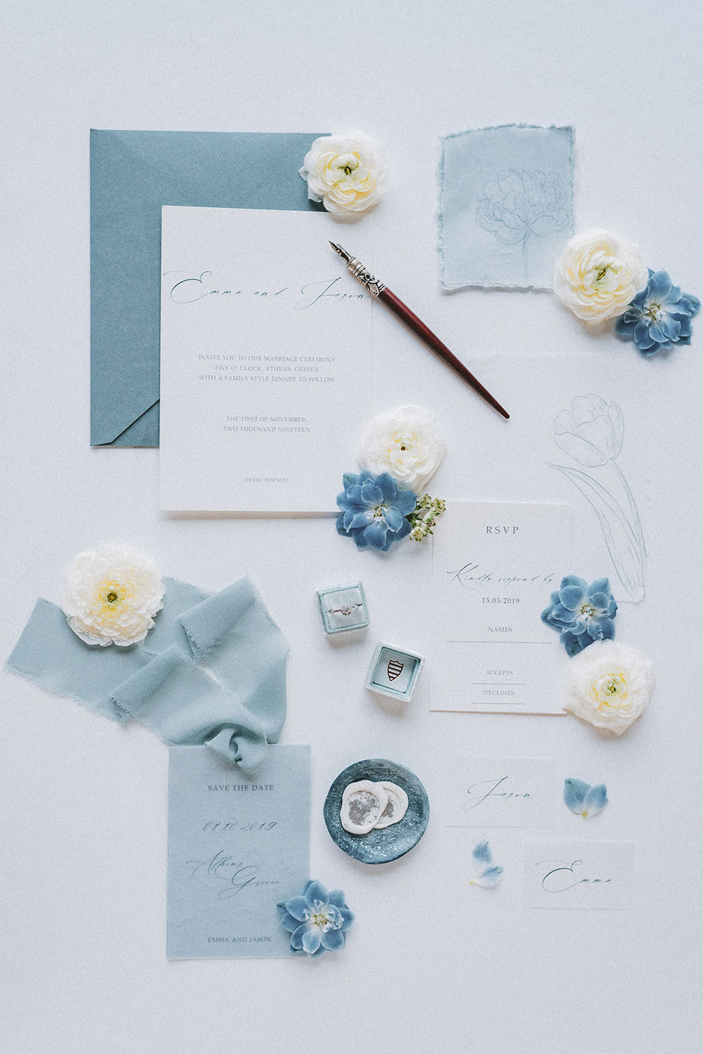 Romantic French Inspired Blue Wedding Inspiration in Greece