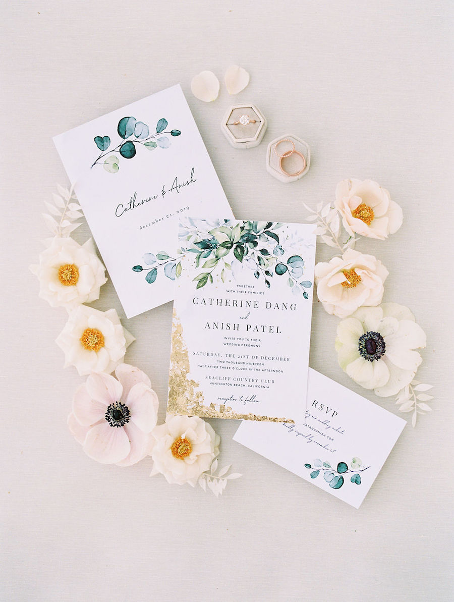 Romantic Emerald Green, White and Gold Southern California Wedding