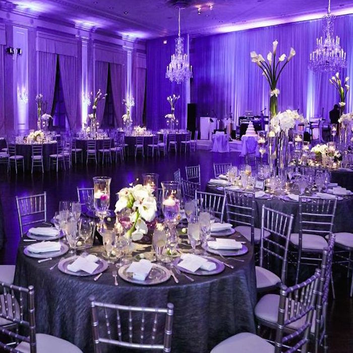 Evening Wedding Reception Decoration Ideas: Glamorous Purple Wedding Ideas