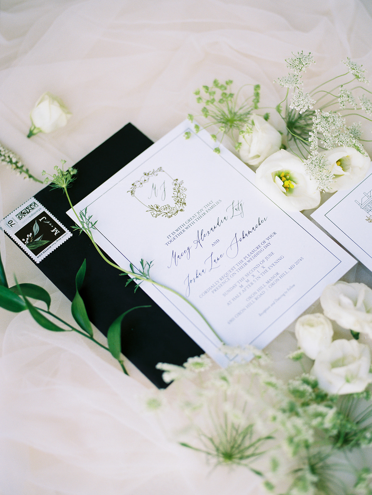 Classic Greenery and White Maryland Wedding at Oxon Hill Manor