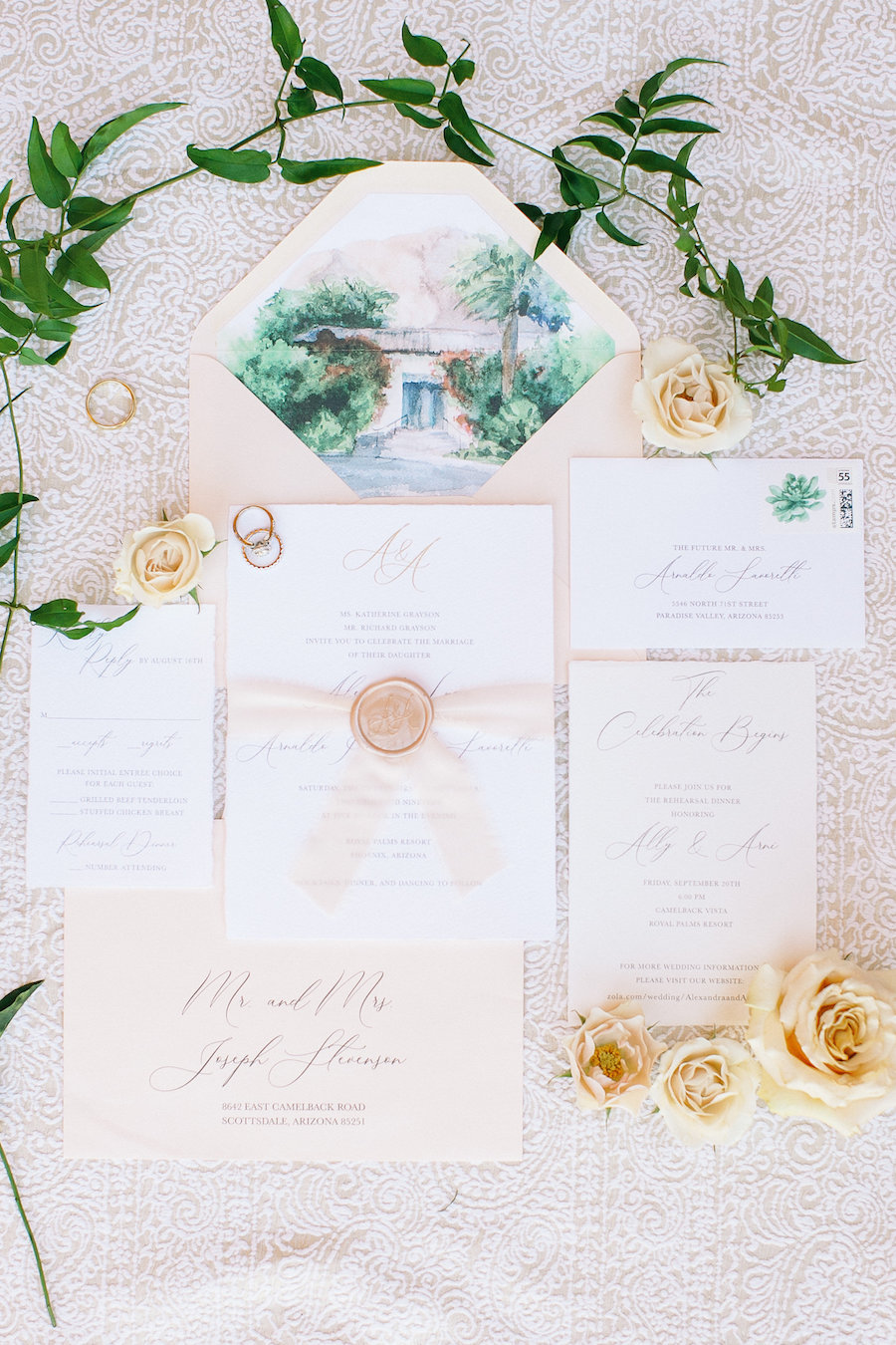 Classic Floral and Greenery Outdoor Wedding at Royal Palms Resort in Phoenix