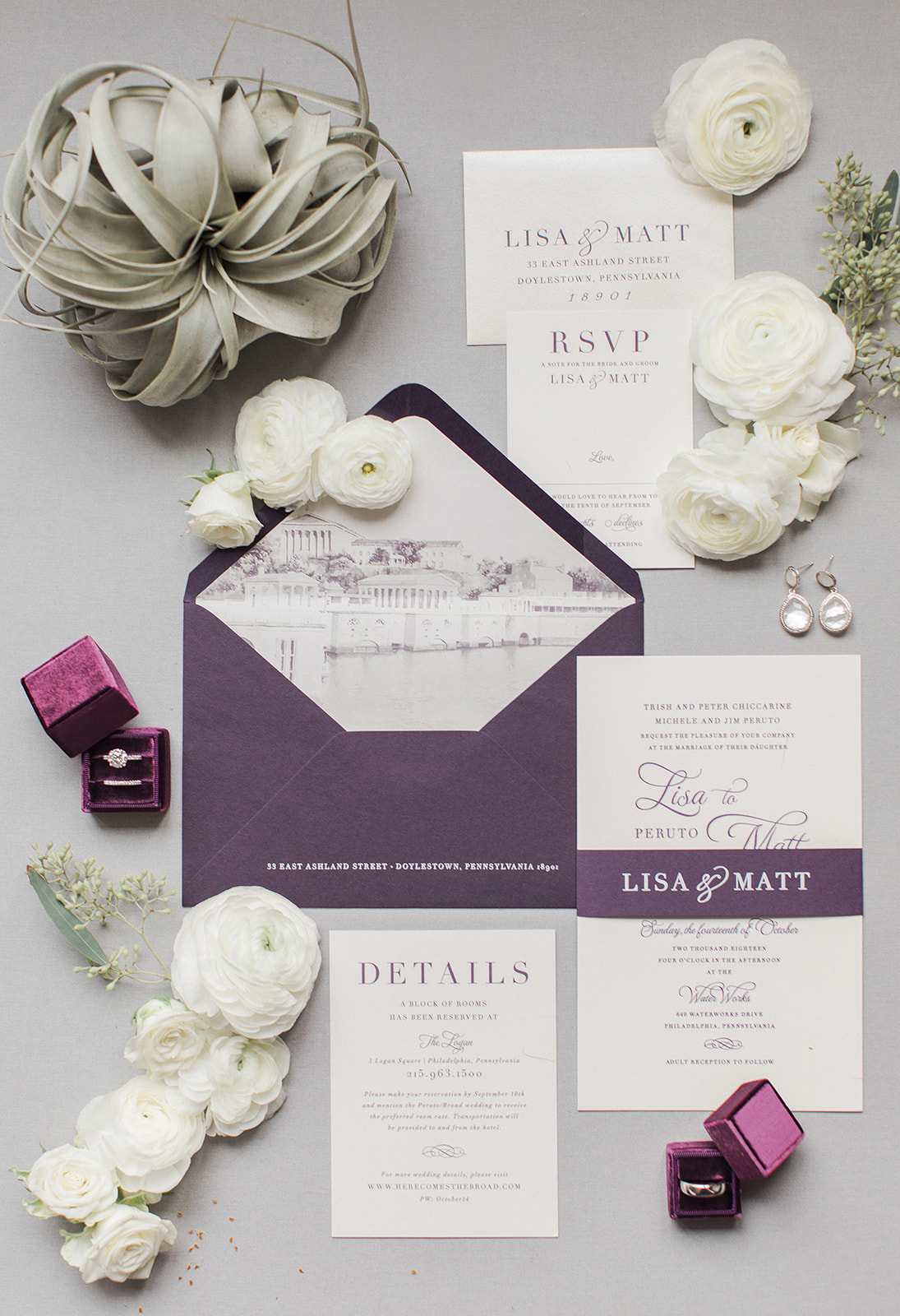 Classic Purple and Greenery Downtown Philadelphia Wedding