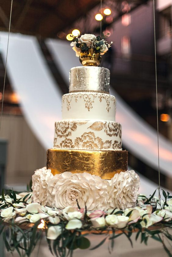 Five Tier Gold, White and Silver Wedding Cake , MODwedding