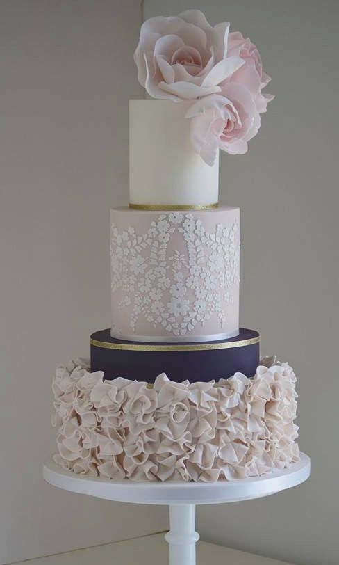 Unique Three Tier Pink White Gold And Navy Wedding Cake Modwedding