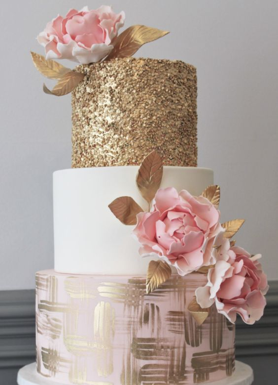 Unique Three Tier Pink White And Gold Wedding Cake