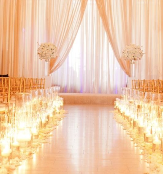 Indoor Wedding Themes: Gold Indoor Wedding Ceremony