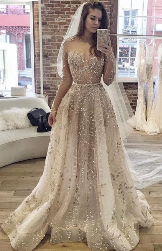 Completely Embellished Sheer Long Sleeve Wedding Dress