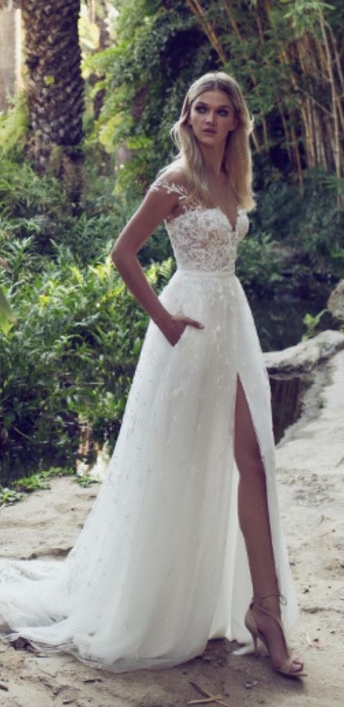 Embellished Off The Shoulder Slit Tulle Skirt Wedding Dress Modwedding