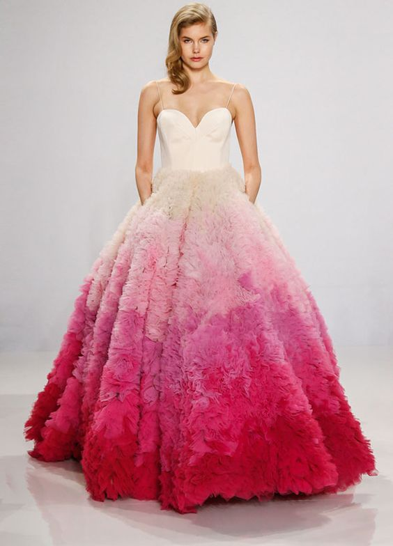 Spaghetti Strap Pink Ombre Wedding Dress