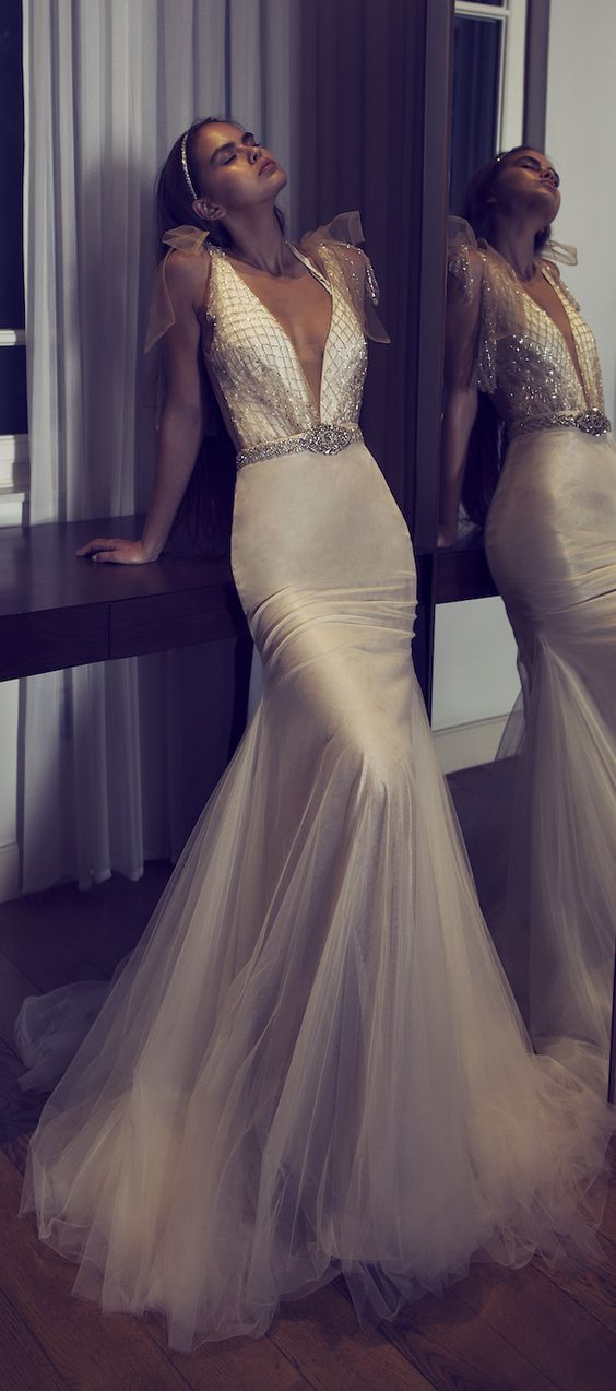 830976eb5 Plunging Neckline Belted Silk and Tulle Mermaid Wedding Dress