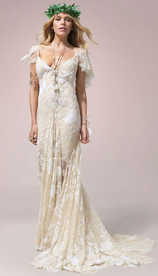 Off White Flutter Sleeve Wedding Dress