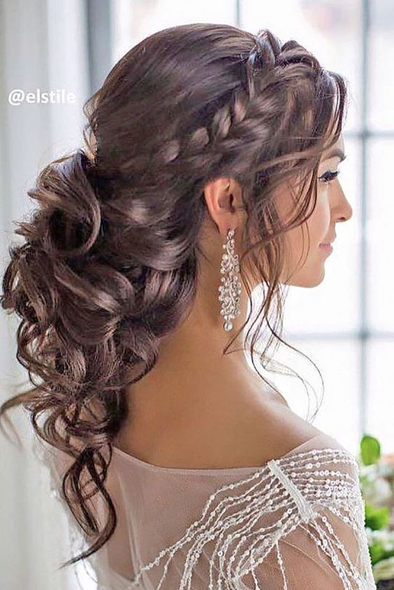 Braided Loose Curls Low Updo Wedding Hairstyle