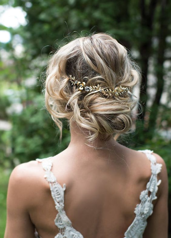 Low Updo Gold Leaf Hairpiece Wedding Hairstyle