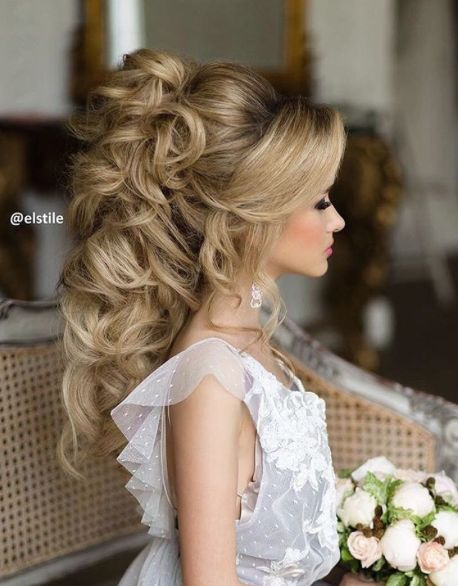 Curly Long Hair Updo Wedding Hairstyle