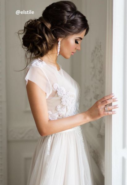 Low Updo Crown Braid Wedding Hairstyle