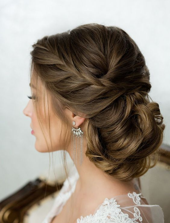 Side French Braid Low Wavy Bun Wedding Hairstyle Modwedding