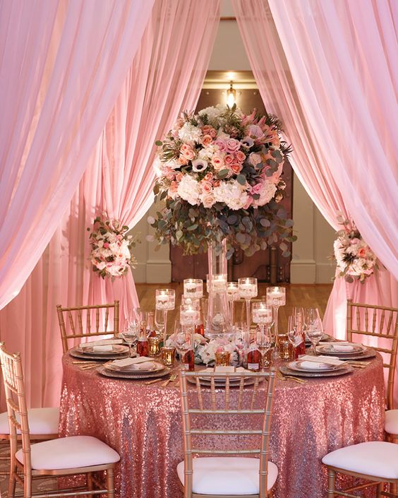 Indoor Wedding Reception Ideas: Pink Indoor Wedding Reception