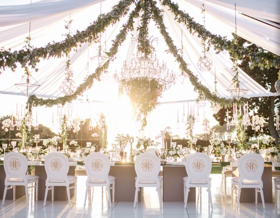 & Green Garden-Inspired White Tent Wedding Reception