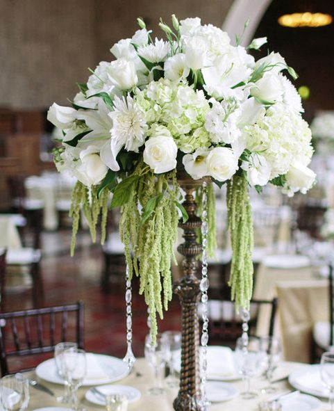 Insurance For Wedding Reception: Green And White Wedding Reception Centerpiece