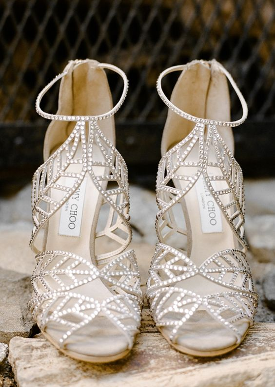 Silver Strappy Wedding Shoes by Jimmy Choo